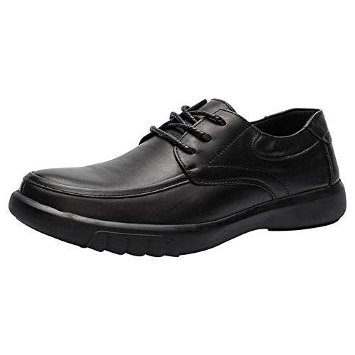 JEOSNDE Zapatos de Negocios Formales clásicos for Hombres Puntada de Punta Redonda Zapatos de Vestir de Boda de Ocio de Moda Cordones de Cuero Genuino (Color : Black, Size : 42 EU)