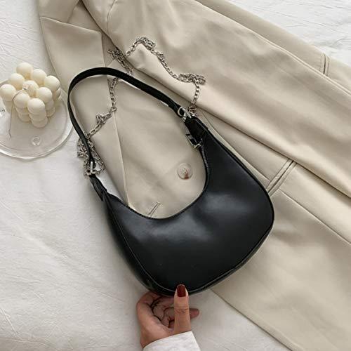 Rendeyuan Bolsa de Mensajero de Palo francés Color sólido Mujer Verano Todo-fósforo Ins Cadena de Moda Bolsa de axila Bolsa de sillín Popular - Negro
