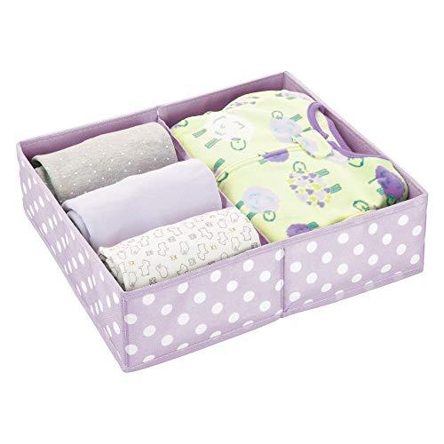 mDesign Caja para almacenar Ropa, Cosas de niños, etc. – Organizador de cajones de Tela para Habitaciones Infantiles – Cesta organizadora para armarios con 2 Compartimentos – Lila y Blanco