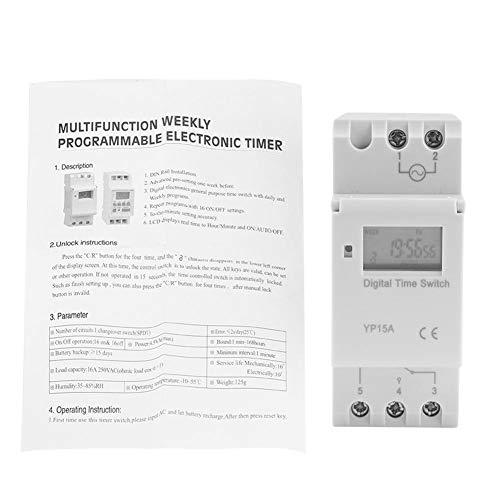 Zerodis 16 A programmierbarer Zeitschaltuhr Digital LCD Power Timer Schiene Zeitrelais, DC12V 1.00volts