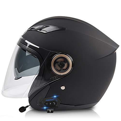 NBMNN Casco de Motocicleta Integrado Bluetooth,Cascos Modulares de Moto de Visera Doble Antivaho Desmontable para Hombres y Mujeres Adultos,Certificacion Dot Black,One Size