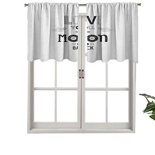 Cenefa de cortina opaca con bolsillo para barra, estilo bohemio, hipster, diseño de frases, estrellas, flechas, cometas, vintage, juego de 2, tratamiento de ventana de 137 x 60 cm para sala de estar