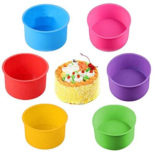 6 moldes redondos de silicona para hornear moldes antiadherentes para hornear (amarillo, azul, lila, rosa, rojo, verde)