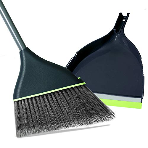 Guay Clean Angled Broom and Dustpan Set with Adjustable Handle - Easy Sweeping for Home Kitchen Office Floor - Collects Dust Dirt Debris - Built-in Broom Comb - Green