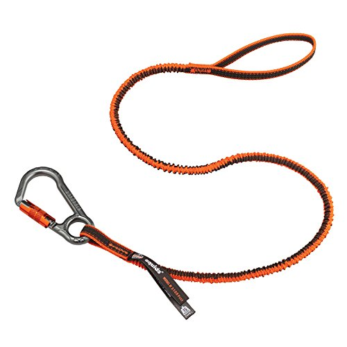 Ergodyne Squids 3108F (X), cordino per attrezzi arancione e grigio, chiusura singola con moschettone, 6,8 kg, arancione e grigio, standard