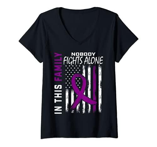 Mujer Purple Ribbon Family Fight Epilepsia Awareness Bandera Americana Camiseta Cuello V