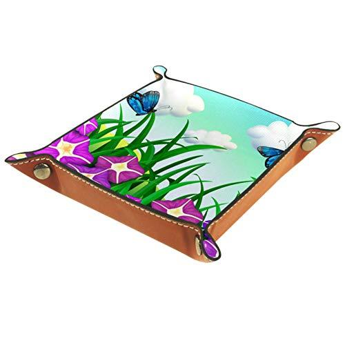 rodde Bandeja de Valet Cuero para Hombres - Hermosas Flores Púrpura Mariposas - Caja de Almacenamiento Escritorio o Aparador Organizador,Captura para Llaves,Teléfono,Billetera,Moneda