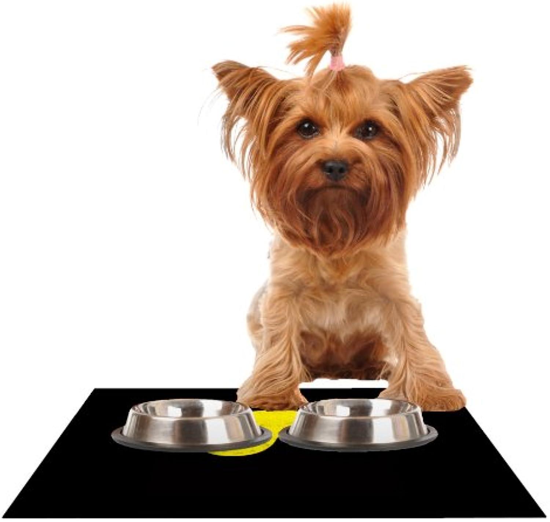 Kess InHouse Frederic LevyHadida Yin Yang Ninja  Feeding Mat for Pet Bowl, 18 by 13Inch