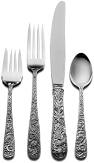 Kirk Stieff Repousse 4-Piece Sterling Silver Flatware Dinner Set, Service for 1