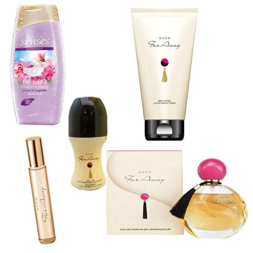 Avon Far Away Parfumset 5tlg.Eau de Parfum Spray/Duschgel/Bodylotion/Deoroller/Mini-Duftroller UVP 56 €
