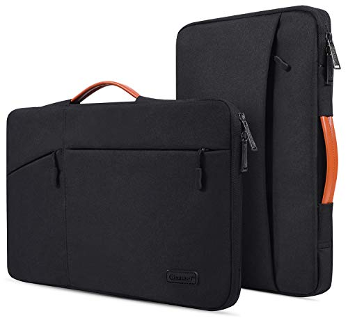 CaseBuy Waterpoof Laptop Briefcase Bag for DELL XPS 15, Acer Chromebook 14, HP Pavilion X360 14/Chromebook 14, Lenovo Yoga C930 C940, Dell Latitude 14, 14 Inch Protective Notebook Carrying Bag, Black