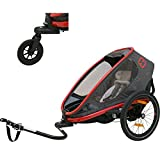 Hamax Outback Reclining Multi-Sport Child Bike Trailer + Stroller - 2020 Model (Jogger Wheel Sold Separately) (Red/Charcoal, One Seat)