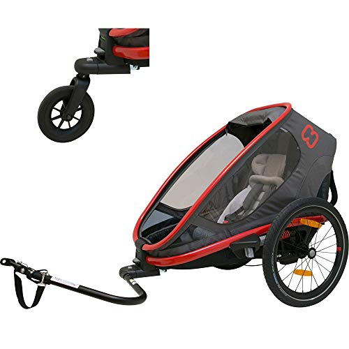 Hamax Outback Reclining Multi-Sport Child Bike Trailer + Stroller (Jogger Wheel Sold Separately) (Red/Charcoal, One Seat)