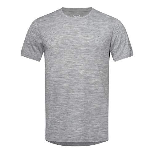 super.natural Dünnes Herren Kurzarm T-Shirt, Mit Merinowolle, M BASE TEE 140, Größe: S, Farbe: Hellgrau