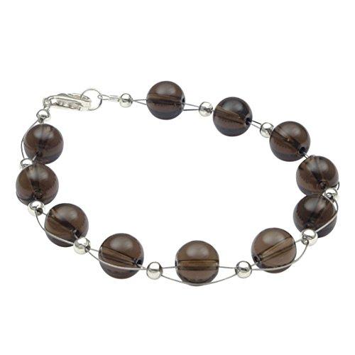 Pulsera de auténtica cuarzo ahumado, marrón, plata 925, joya para mujer