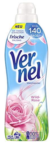 Vernel Wild-Rose, Weichspüler, Waschladungen, für einen langanhaltenden Duft und traumhaft weiche Wäsche (36 (1 x 36) Waschladungen)