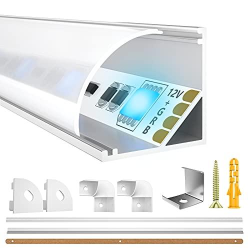 LED Aluminium Profil 10 x 1m ,LIAOINTEC V-Form LED Aluminium Profil mit Weiß Milchige Abdeckung, Endkappen, und Montageklammer für LED-Streifen, Leisten (LED Strips/Band bis 12 mm inkl.)