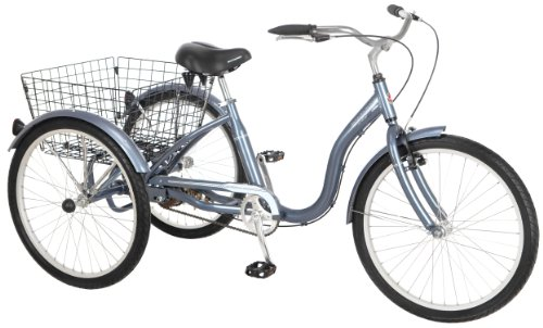 Schwinn Meridian Adult Tricycle with 24-Inch Wheels in Slate Blue, with Low Step-Through Aluminum Frame, Front and Rear Fenders, Adjustable Handlebars,...