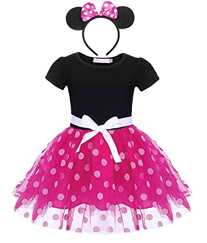Jurebecia Vestido de Lunares + Mini Mouse Ears Diadema para niñas Princesa Bowknot Tutu Fiesta de cumpleaños Trajes 1-7 años (Rosa, 6-7 años)