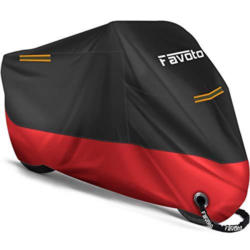 Favoto Funda para Moto Cubierta de la Moto 210D Impermeable Protectora con Banda Reflectante a Prueba de Sol Lluvia Polvo Viento Nieve Excremento de Pájaro al Aire Libre, 265x105x125cm Negro+Rojo