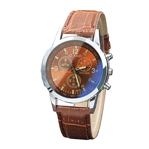 Herren Armbanduhr FGHYH Vintage wasserdicht Datum Lederarmband Sport Quarz Watch Uhr(A-27)