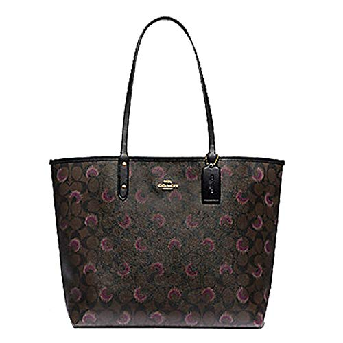 Coach Reversible City Tote In Signature Canvas With Moon Print Brown Purple Multi/Black, Medium