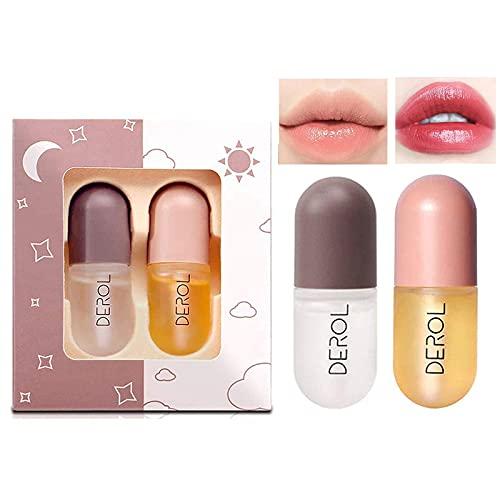 2 Pcs Natural Lip Plumper, Pflanzenextrakte Plumping Lip Serum, Tag und Nacht Double Effect Natural Lip Enhancer, Derol Lip Plumper Lip Plumping Balm, Klarer Lipgloss für vollere und...