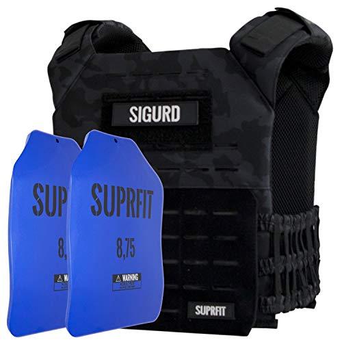 Suprfit Sigurd 3D Gewichtsweste verstellbar, erweiterbar auf 17kg, Basisgewicht Weight Vest 1kg, Zusatzgewicht 2 Plates je...