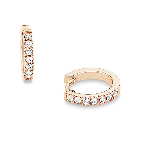 S.Oliver Damen Creolen Ohrringe basic 925 Sterling Silber rosévergoldet Zirkonia 14 mm weiß
