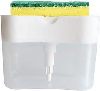 Kithchen Soap Dispenser with Sponge Holder Soap Pump Dispenser and Sponge Holder for Kitchen Sink Dish Washing Soap (White)