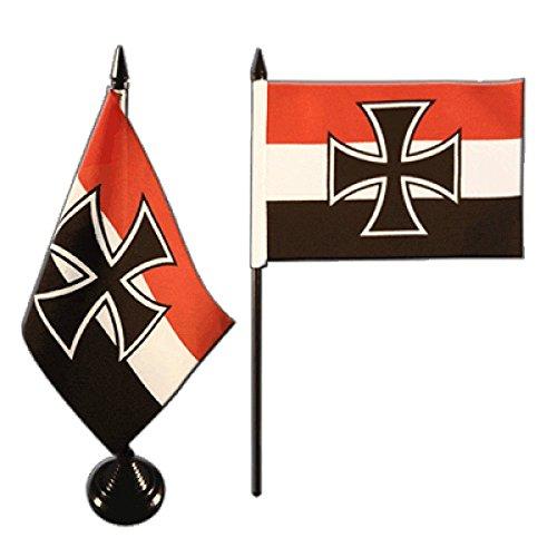 Tischflagge / Tischfahne Deutsches Reich Gösch-Naval Jack 1871-1919 + gratis Aufkleber,...