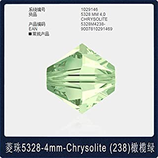 Calvas Ms Betti hot 5328 6mm Plain Color1-250 Rhombus Bicones Beads Crystal from Swarovski Loose Beads Retail for Jewelry Making Bijoux - (Color: 238 Chrysolite Bead)