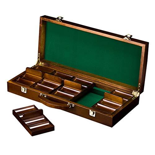 HOUSEHOLD 500 Piezas Caja de Madera para fichas de póquer Texas Poker Chips con Bandeja para 5 fichas de póquer para Suministros de Fiesta de Casino, marrón