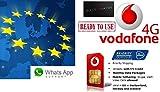 Tarjeta SIM de prepago europea, NL, 4G/LTE, itinerancia de datos 4G gratis en 31 países (UE + EEE), disponible conexión, VoIP, Skype, de la marca Vodafone