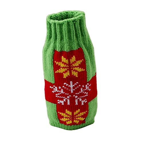 AOYEZIUS - Bolsa para botellas de vino, diseño de Navidad, color verde + copo de nieve