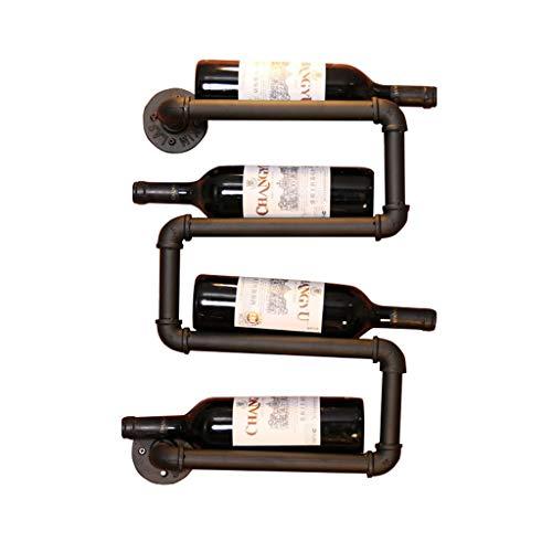 Etagère à bouteille Casier à vin mural Porte-bouteilles mural, Wall Wine Rack Métal Fer Mur Monté Vin Étagère Rétro Pipe à Eau Conception Suspendus, Can Dit 4 Bouteilles,Noir,L26 X H55 cm