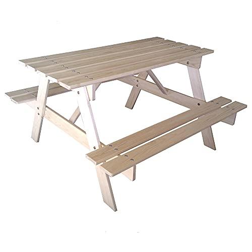 TIMBELA M016-1 Kindersitzgarnitur mit Kindertisch und zweimal Sitzbank, Natur - Outdoor Kindermöbel