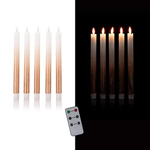 DbKW (Farbverlauf Rose) 5er Set LED Stabkerzen in Echtflammen-Optik mit Fernbedienung und 4/8 Stunden Timer aus Echtwachs. Neustes Modell! Flackereffekt und Standlicht. Tafelkerzen Kerzen