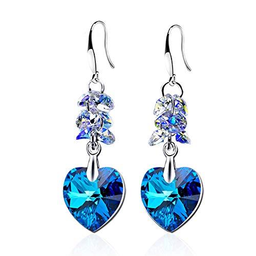 XinLuMing Pendientes de corazón Señoras, 925 creuelos de Plata de Ley Colgan con Cristales Azules, Regalos de cumpleaños para la Sra. Madre (Color : Blue)