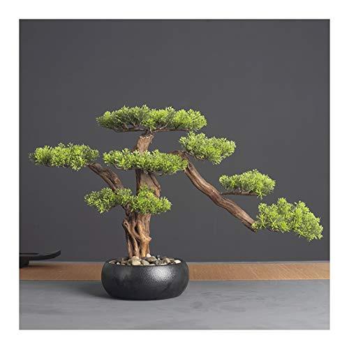 OMING Bonsáis 14.2 en.Cedar Bonsai Plant Faux Bonsai Tree Simulation Potted Plant DIY Decorativo Bonsai Pot for Hogar, Oficina, Tienda Árbol Bonsai