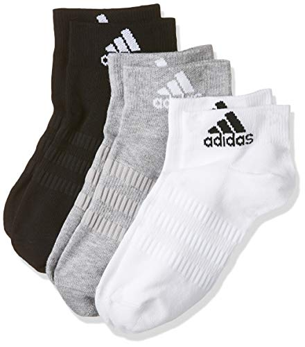 adidas LIGHT ANK 3PP Socks, Unisex adulto, Medium Grey Heather/White/Black, L