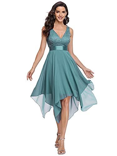 Ever-Pretty Vestidos de Fiesta para Mujer Corte Imperio Escote en V A-línea con Encaje Gasa Vestido de Noche Azul Polvoriento 44