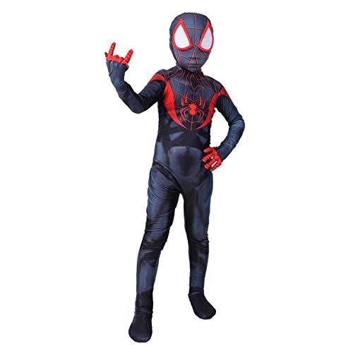 KIDsportxie Costume Cosplay Miles Spider-Man Into The ragnoverso Role Play Siamese Abbigliamento Spider-Man Un Nuovo Universo Body Lycra Tuta per Halloween,Kids/XL(145~150CM)