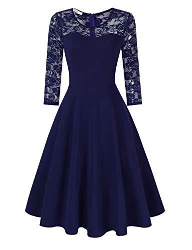 KOJOOIN Damen Elegant Spitzenkleid Cocktailkleid Brautjungfernkleider für Hochzeit Abendkleider Rundhals Knielang Rockabilly Kleid Dunkeblau Langarm M