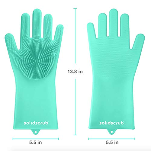 Product Image 2: SolidScrub | Magic Silicone Gloves Scrubbing Gloves for dishes, dishwashing gloves with scrubbers, dish gloves for kitchen, car wash, and pet care | 1 pair, 2 gloves (Green Blue/Aqua)