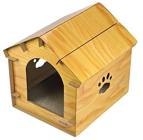 Plus Nao(プラスナオ) 猫用 爪とぎ お家 ハウス ネコ ペット用品 爪研ぎ ダンボール 段ボール 可愛い かわいい 爪みがき 猫 おもちゃ スト - イエロー