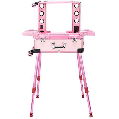 Flashing professionele cosmeticakoffer met 21 inch LED, trolleyhouder voor 4 rollen en lamp en spiegel met tas voor make-up artiest