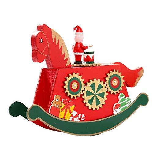 LF-Music Box Kerstboom muziekdoos Kerstversiering Houten roterende muziekdoos cadeau