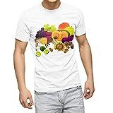 igsticker プリント Tシャツ メンズ XL サイズ size おしゃれ クルーネック 白 ホワイト t-shirt 014995 秋 味覚 果物