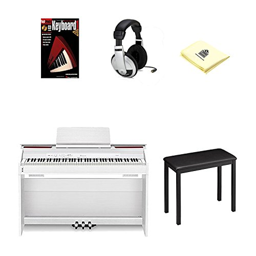 Hot Sale Casio Px850 White Digital Piano Bundle with Casio Cb7bk Furniture Style Bench, Deluxe Headphones, Hal Leonard Instructional Book and Polishing Cloth